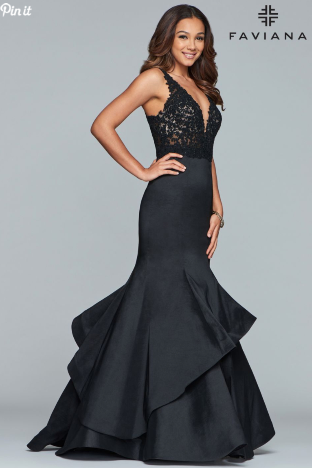 Faviana Lace Beaded Gown - Main Image