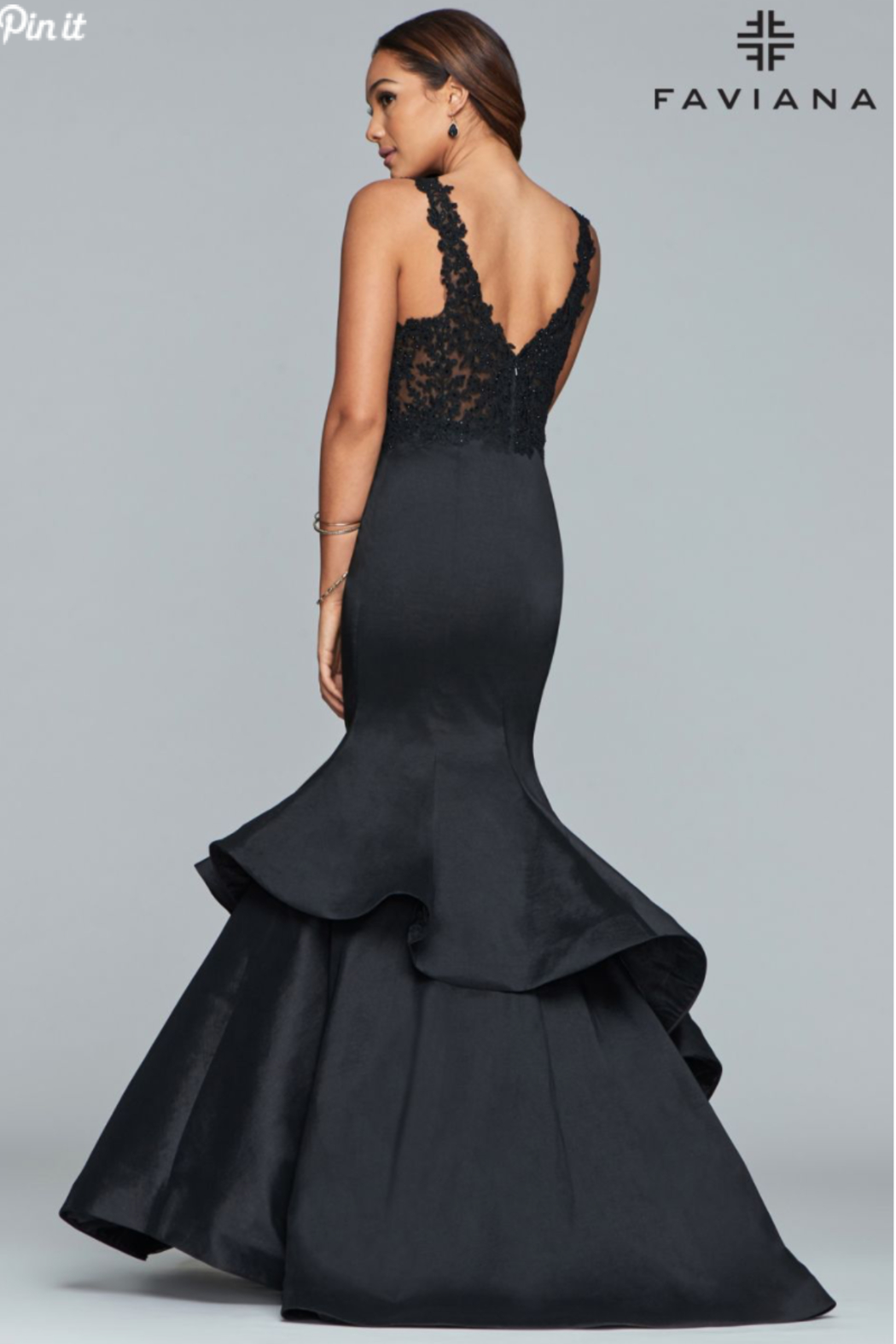 Faviana Lace Beaded Gown - Front Full Image