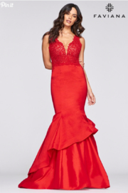 Faviana Lace Beaded Gown - Front cropped