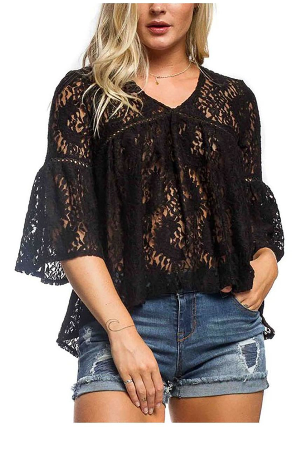 Anama Lace Bell-Sleeve Blouse - Main Image
