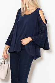 Nally & Millie Lace Bell Sleeve Cold Shoulder Top - Product Mini Image