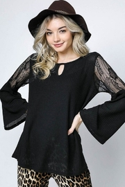 Davi & Dani Lace Bell Sleeve Top - Product Mini Image