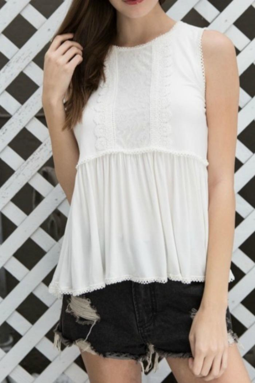 POL Lace Bib Top - Front Full Image
