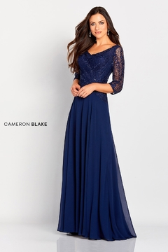Cameron Blake Lace Bodice A-Line Gown, Navy - Product List Image