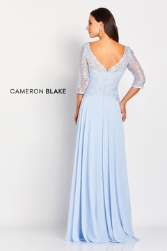Cameron Blake Lace Bodice A-Line Gown, Navy - Alternate List Image