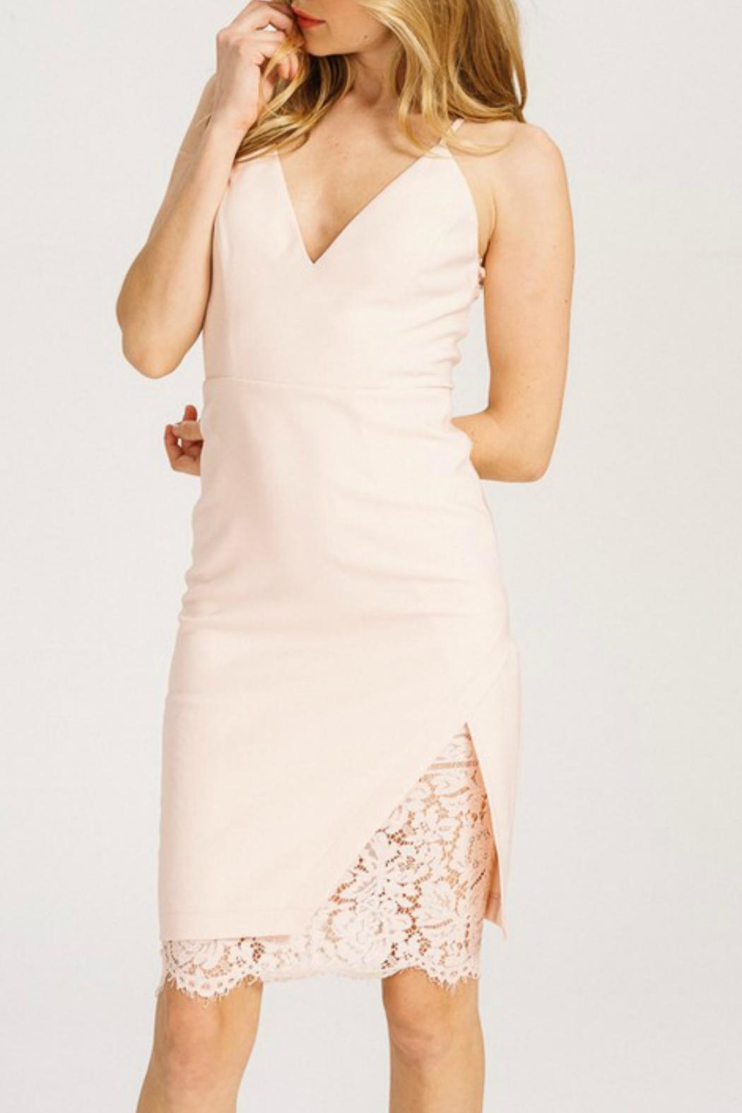 Main Strip Lace Bodycon Dress - Front Full Image