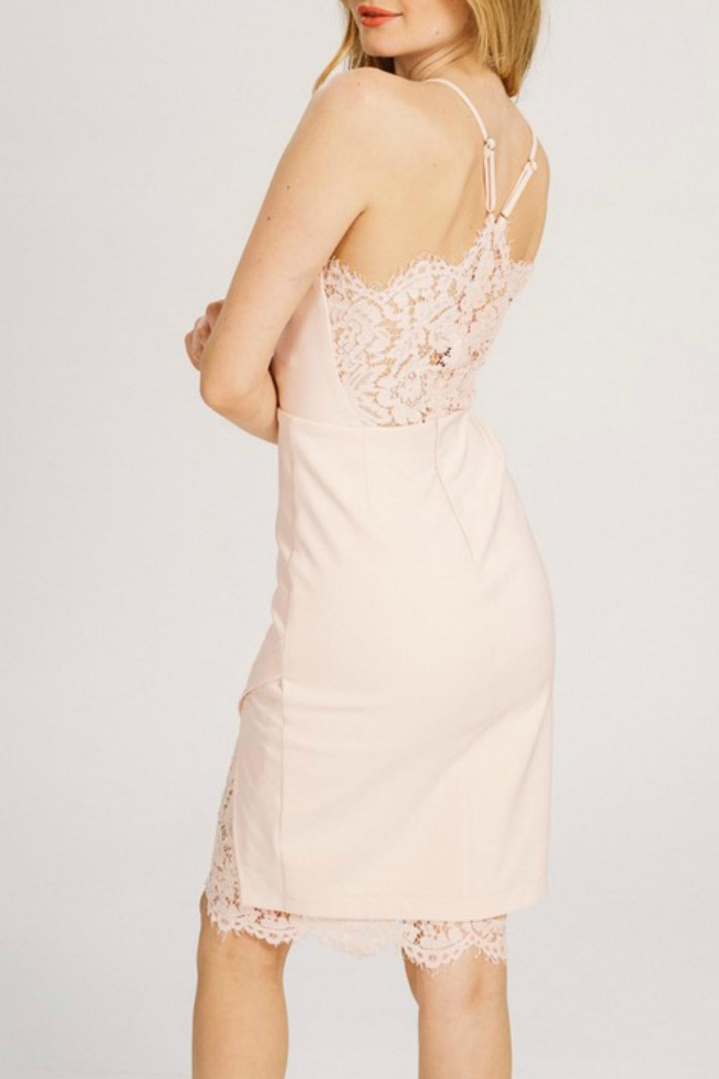 Main Strip Lace Bodycon Dress - Side Cropped Image