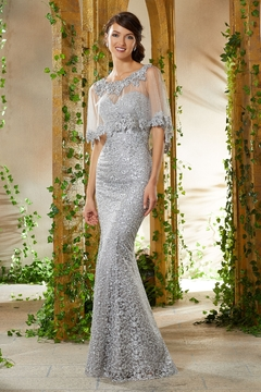 MGNY Lace Cape Gown, Silver - Product List Image