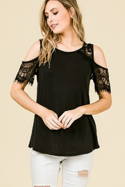 Hailey & Co Lace Cold Shoulder Top - Product Mini Image
