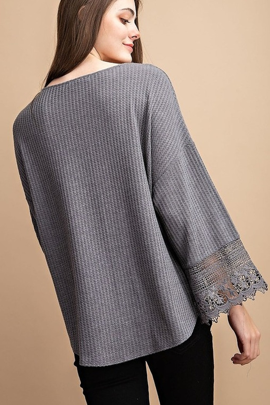 FSL Apparel Lace Crochet Contrast Top - Side Cropped Image