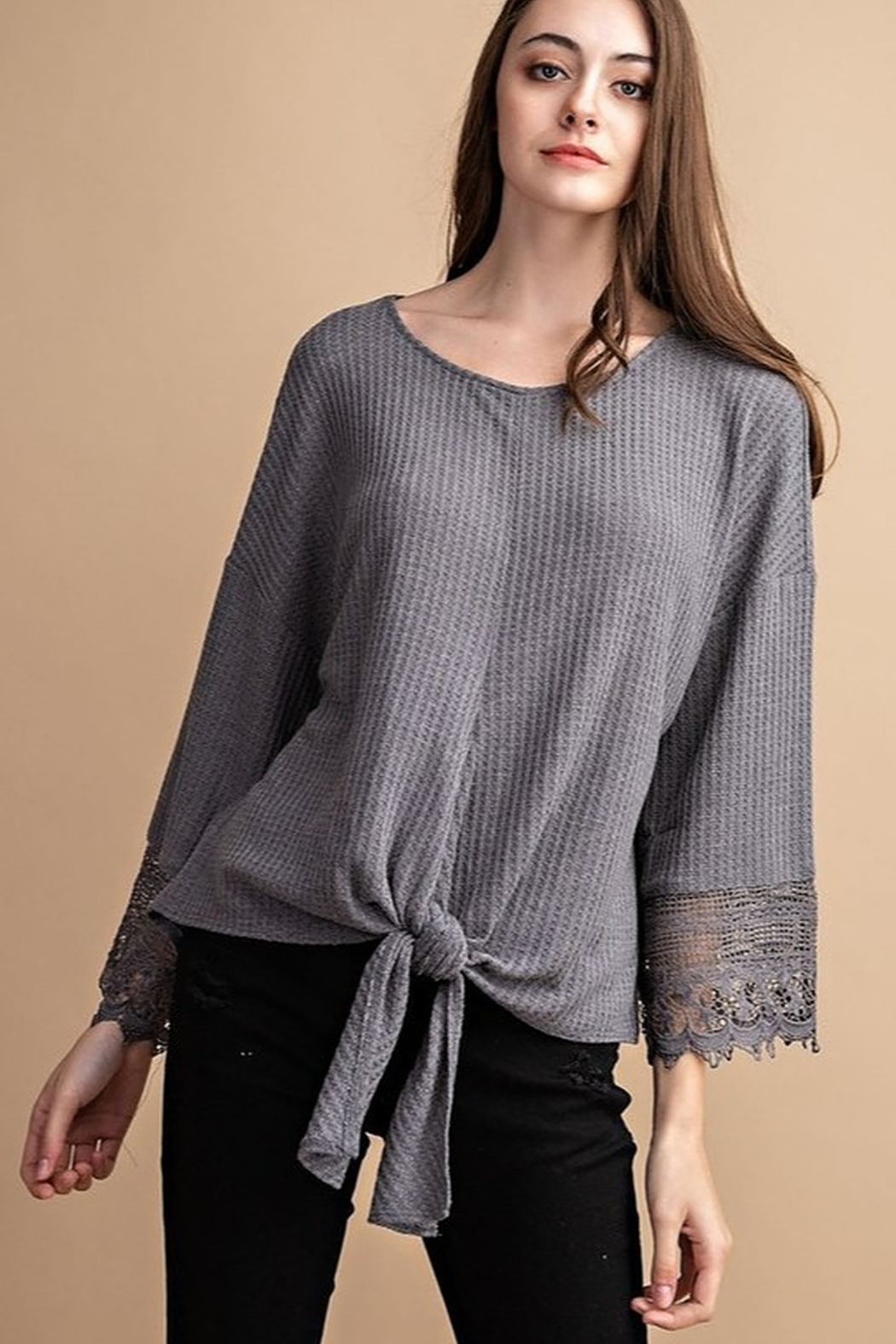 FSL Apparel Lace Crochet Contrast Top - Main Image