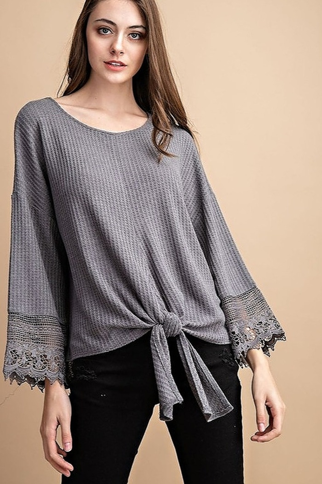 FSL Apparel Lace Crochet Contrast Top - Front Full Image