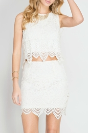 She + Sky Lace Crop Top - Front full body