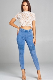 A Peach Lace Crop Top - Product Mini Image