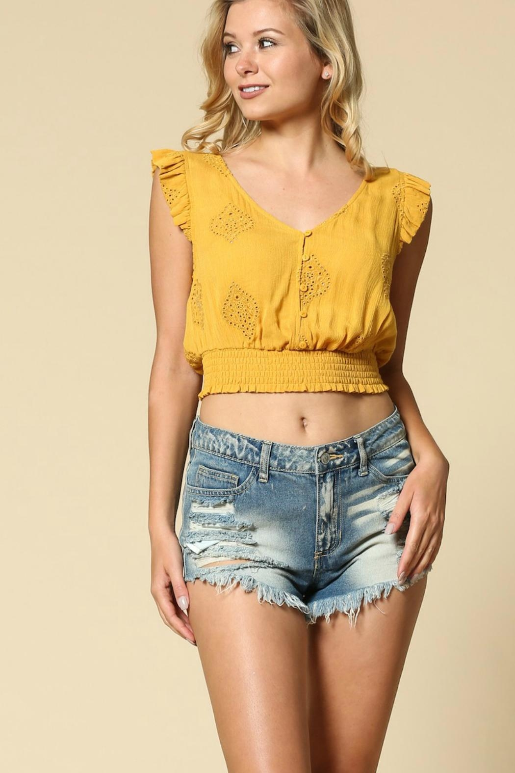 Illa Illa Lace Crop Top - Front Cropped Image