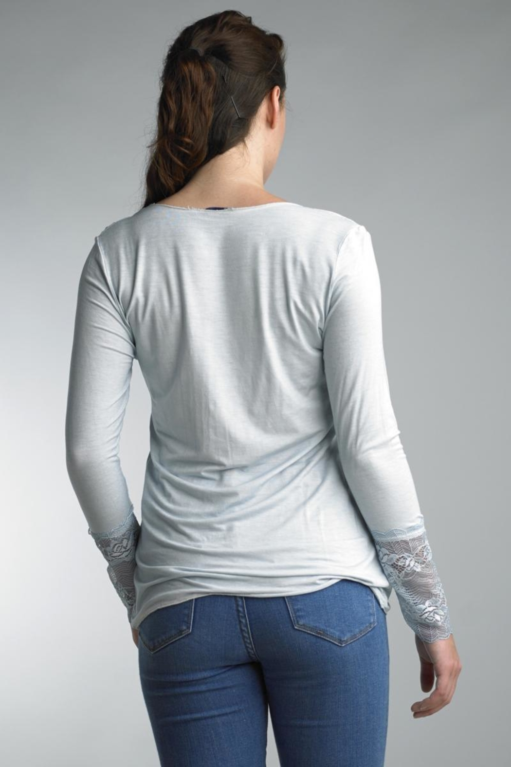 Tempo Paris Lace Cuff Tee - Front Full Image