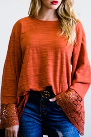 andthewhy Lace Detail Bell Sleeve Top - Product Mini Image