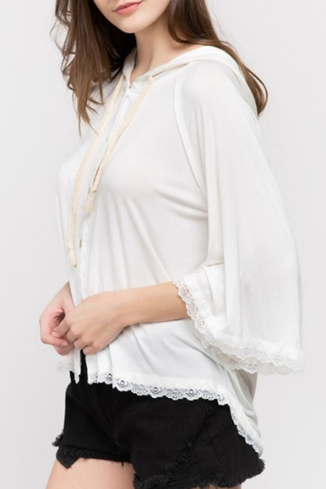 POL Lace Detail Hoodie - Side Cropped Image
