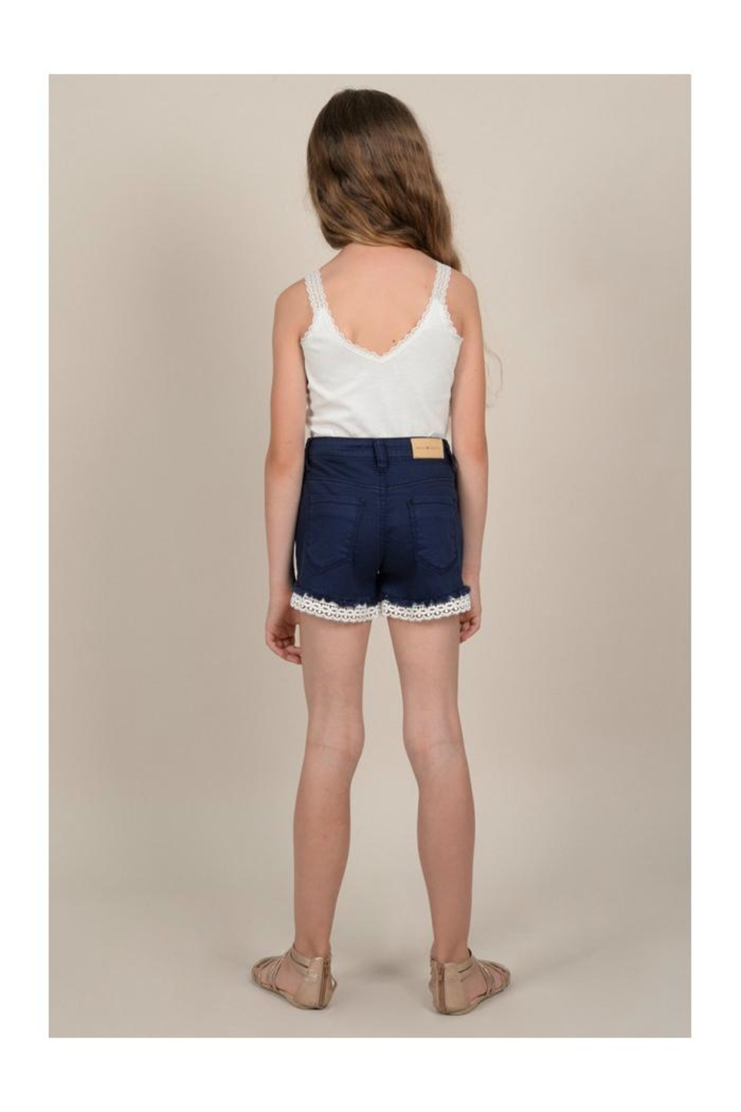 Mini Molly Lace Detail Shorts - Back Cropped Image