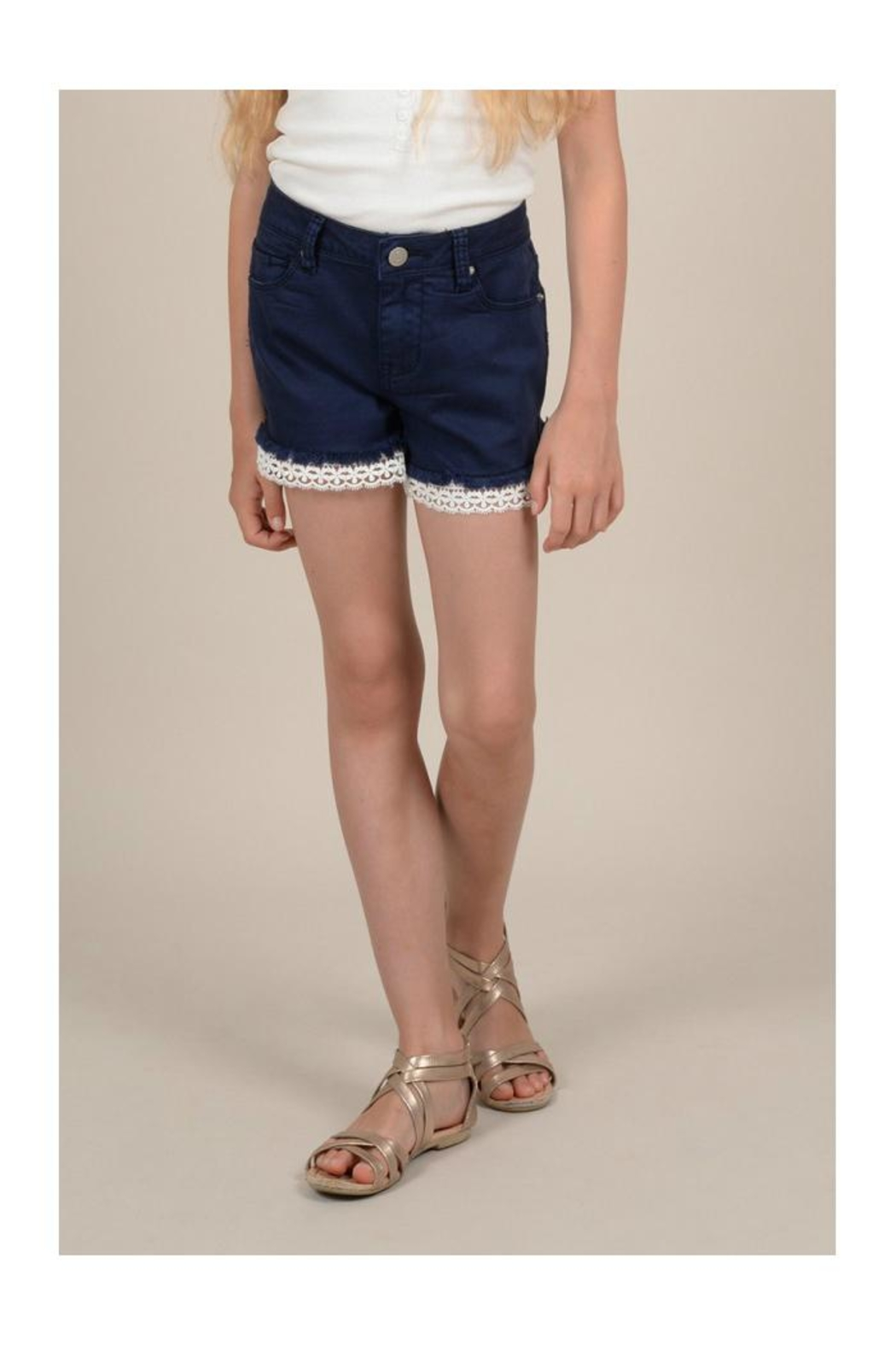 Mini Molly Lace Detail Shorts - Front Full Image
