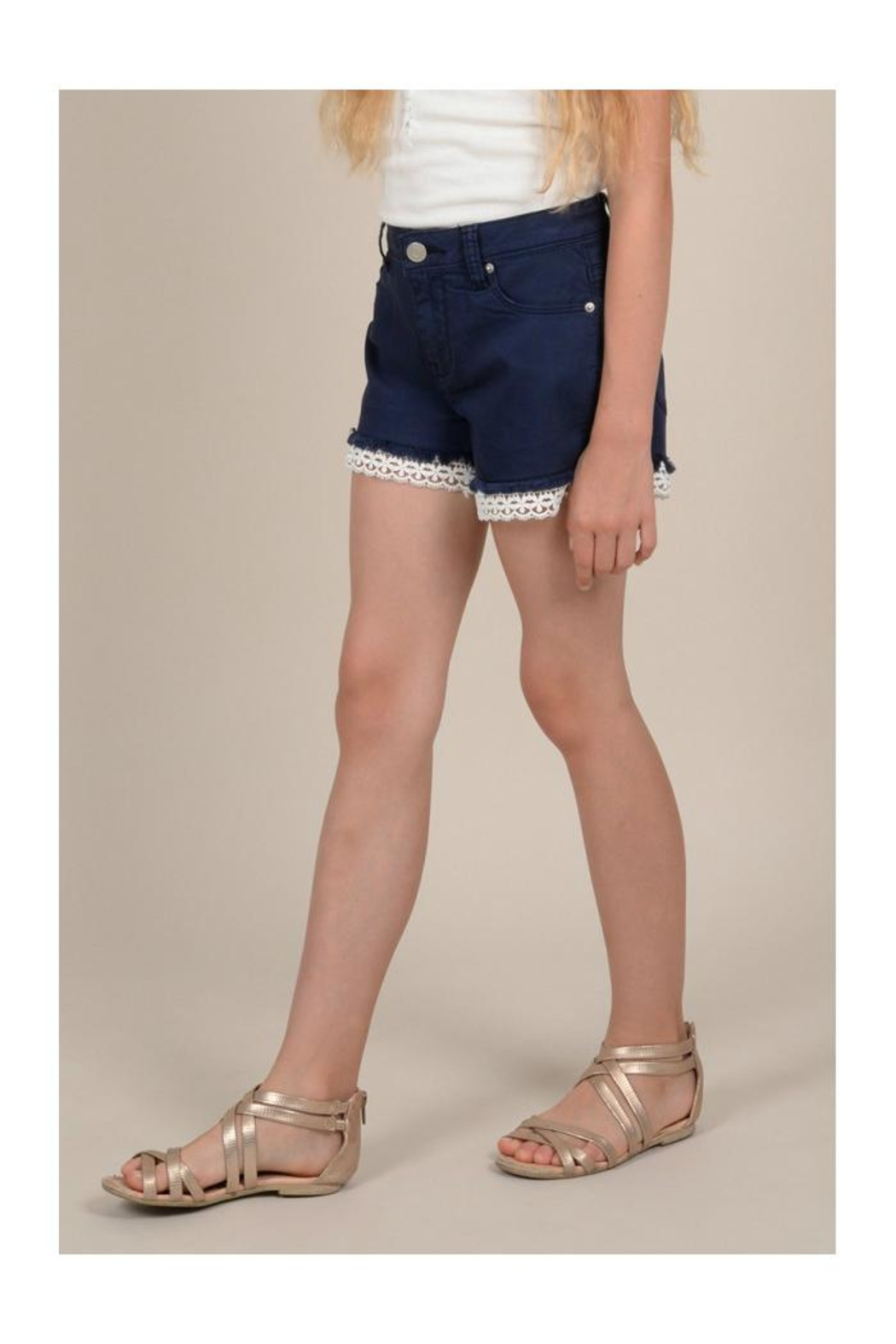 Mini Molly Lace Detail Shorts - Side Cropped Image