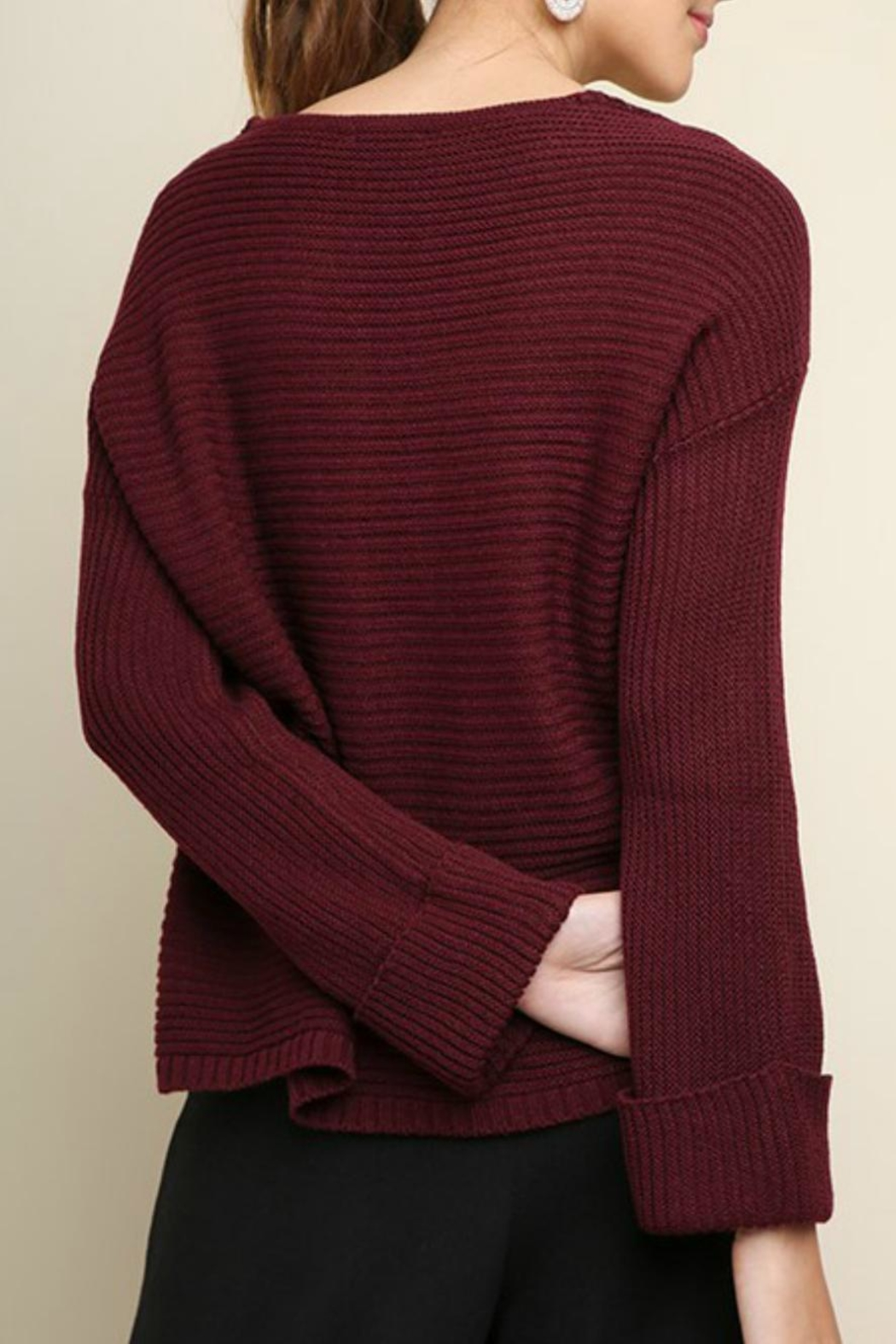 Umgee USA Lace Detail Sweater - Front Full Image