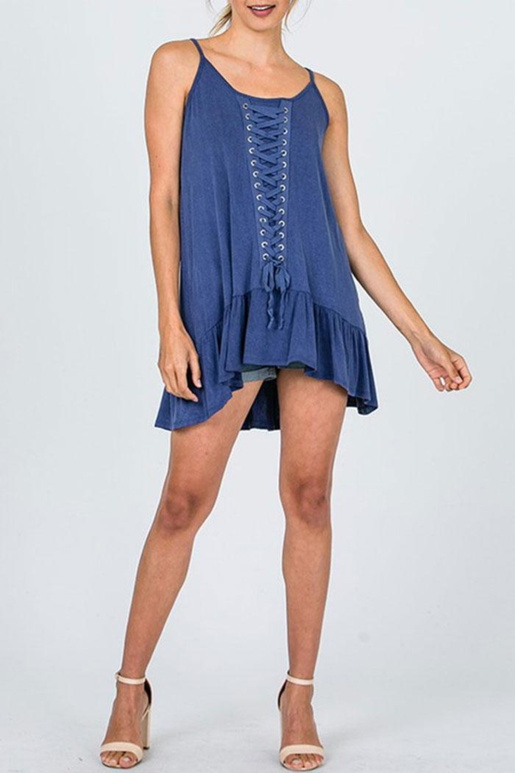 CY Fashion Lace Detail Tunic-Top - Back Cropped Image