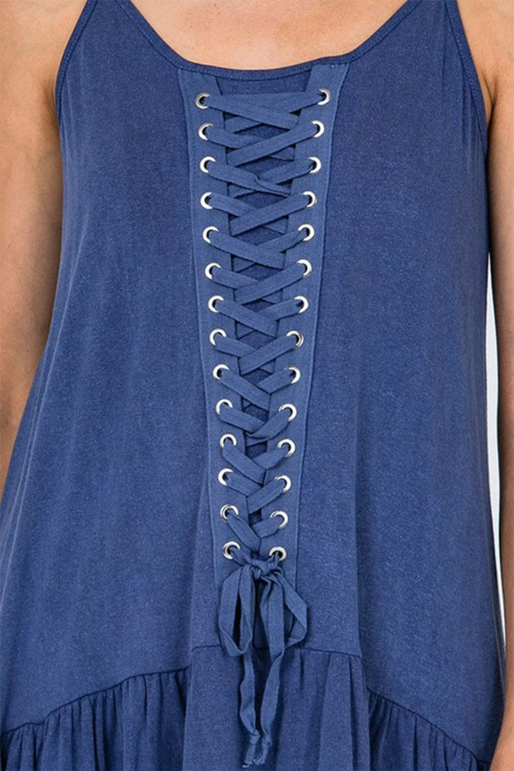 CY Fashion Lace Detail Tunic-Top - Front Full Image