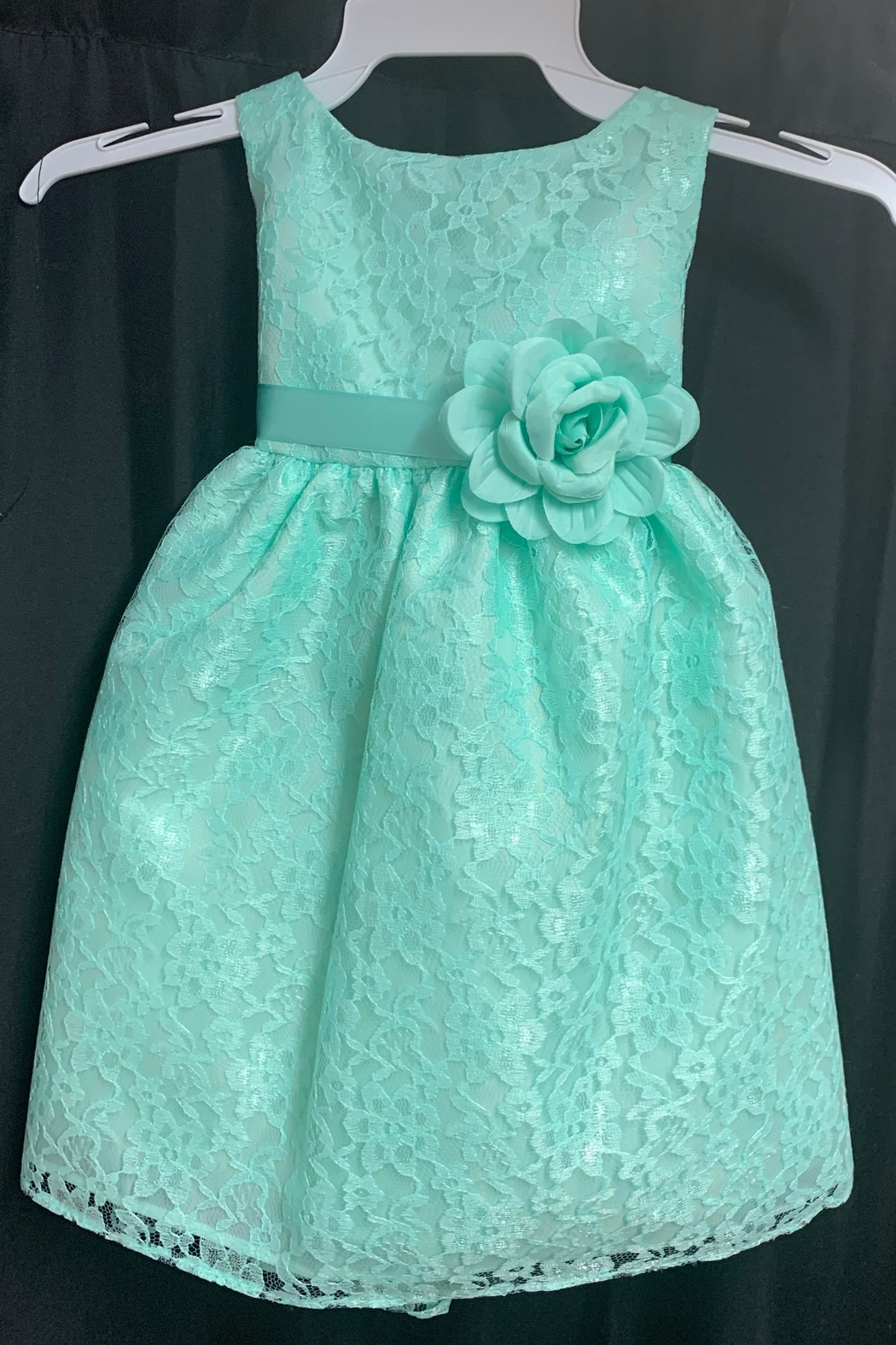 Calla Collection  Lace Dress w/ Flower - Front Cropped Image
