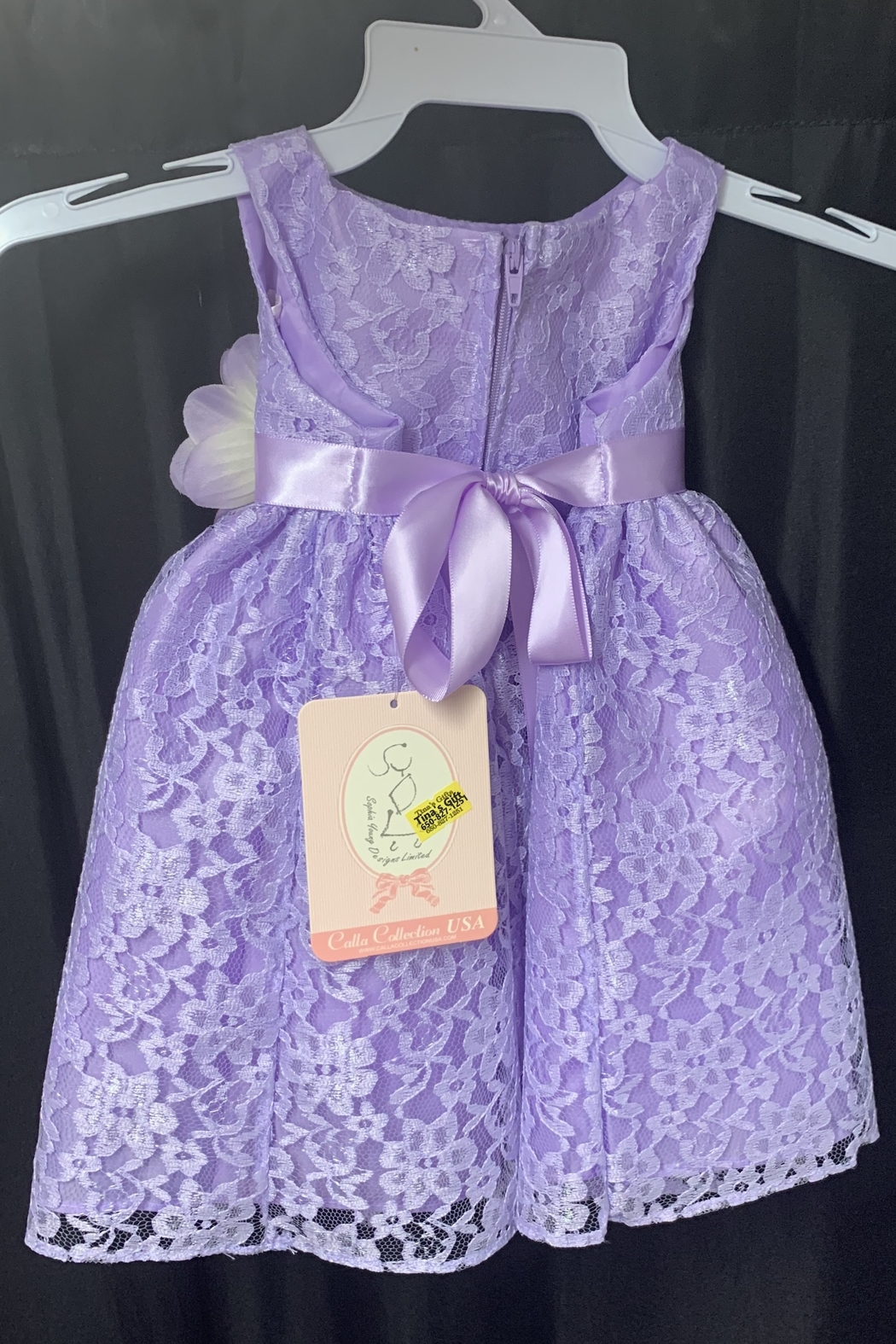 Calla Collection  Lace Dress w/ Flower - Front Full Image