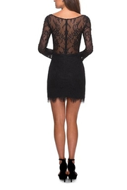 La Femme Lace Dress With Long Sleeves and Scalloped Hem - Front full body