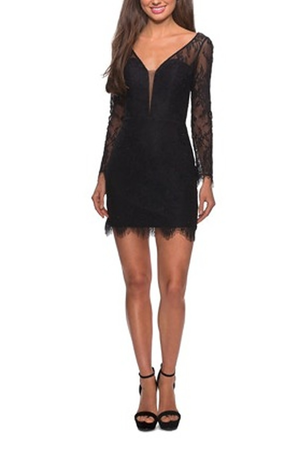 La Femme Lace Dress With Long Sleeves and Scalloped Hem - Side Cropped Image