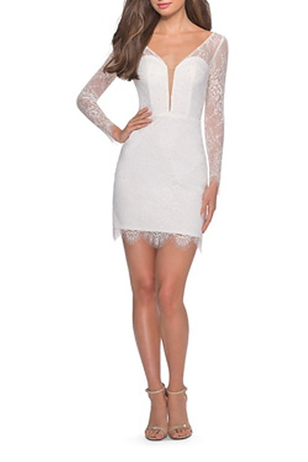 La Femme Lace Dress With Long Sleeves and Scalloped Hem - Front Full Image