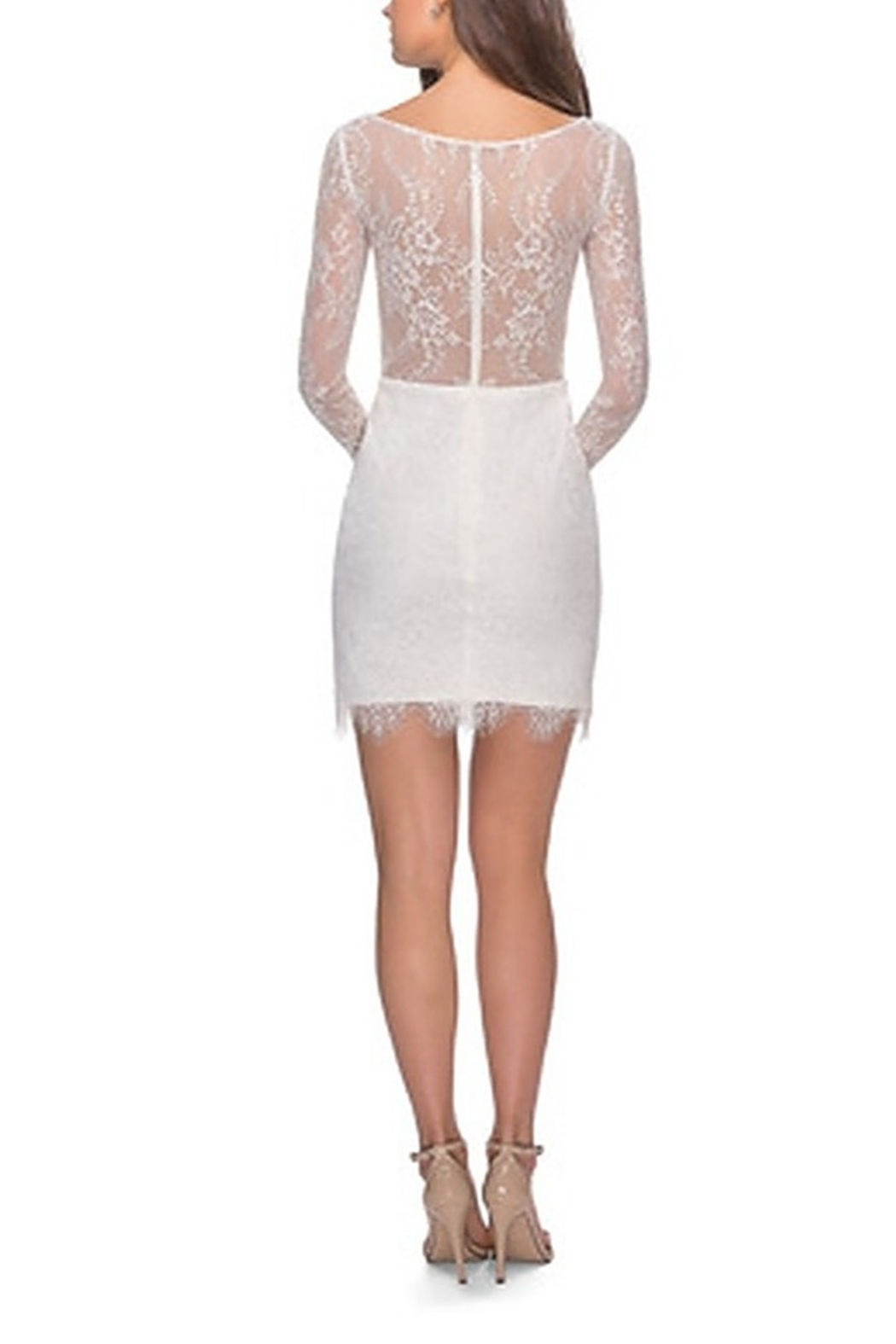 La Femme Lace Dress With Long Sleeves and Scalloped Hem - Front Cropped Image