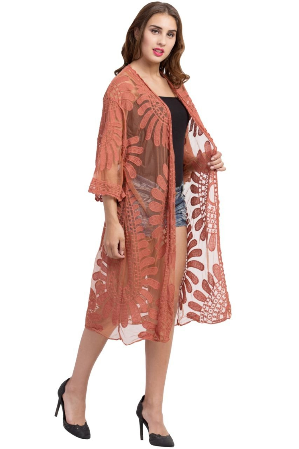 Raj Lotus Lace Duster - Front Full Image