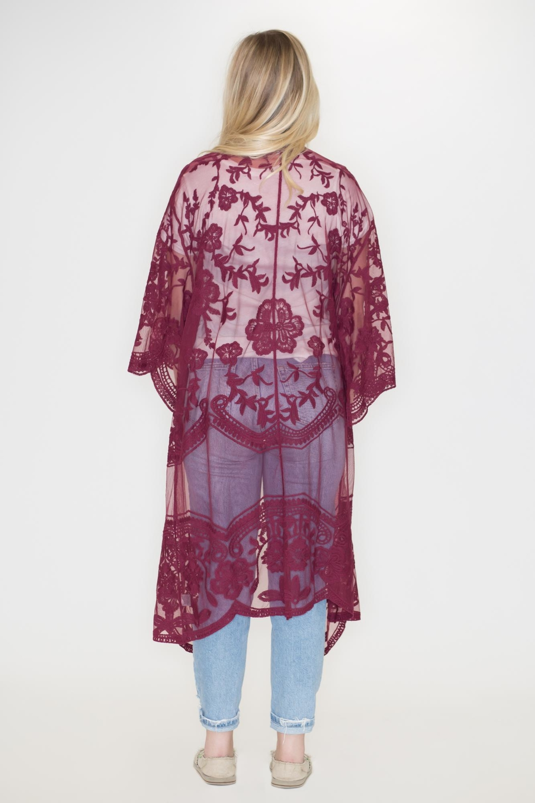 She + Sky Lace Duster Cardigan - Side Cropped Image