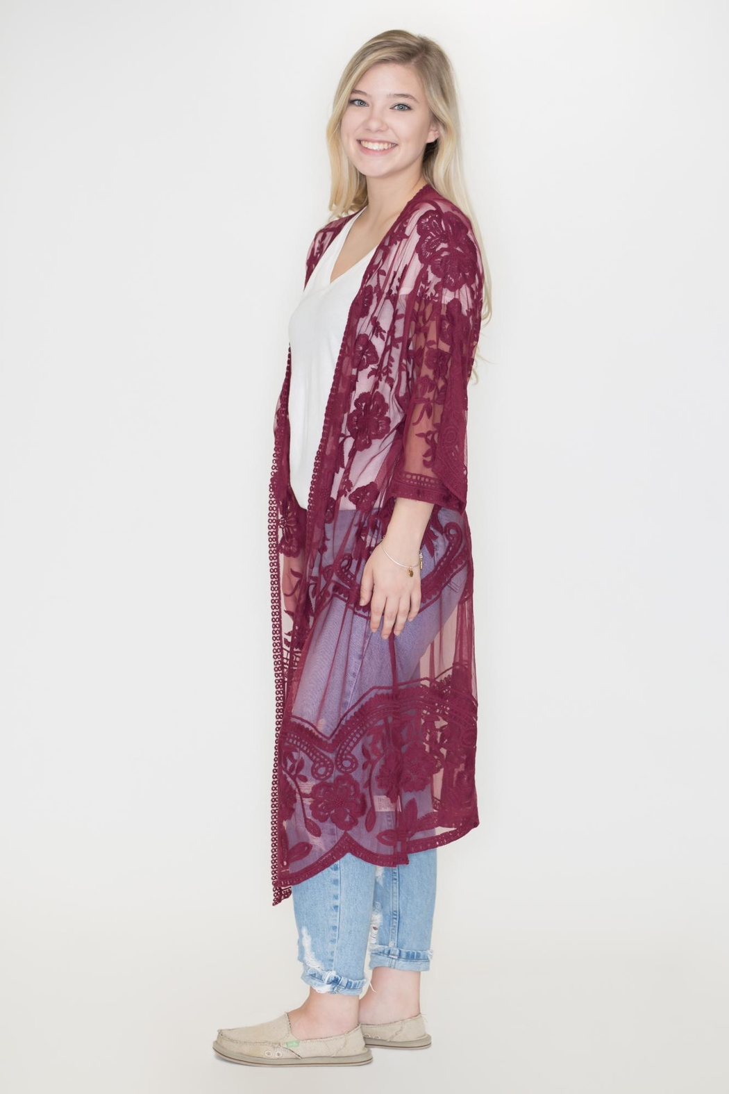 She + Sky Lace Duster Cardigan - Front Full Image