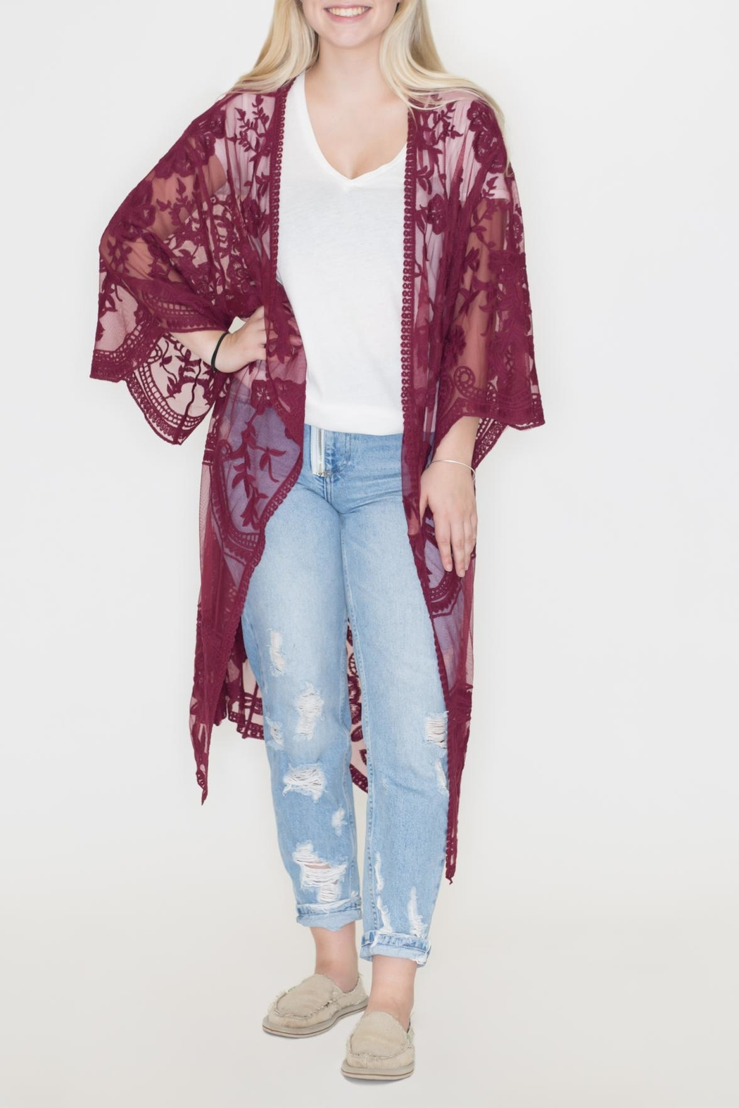 She + Sky Lace Duster Cardigan - Main Image