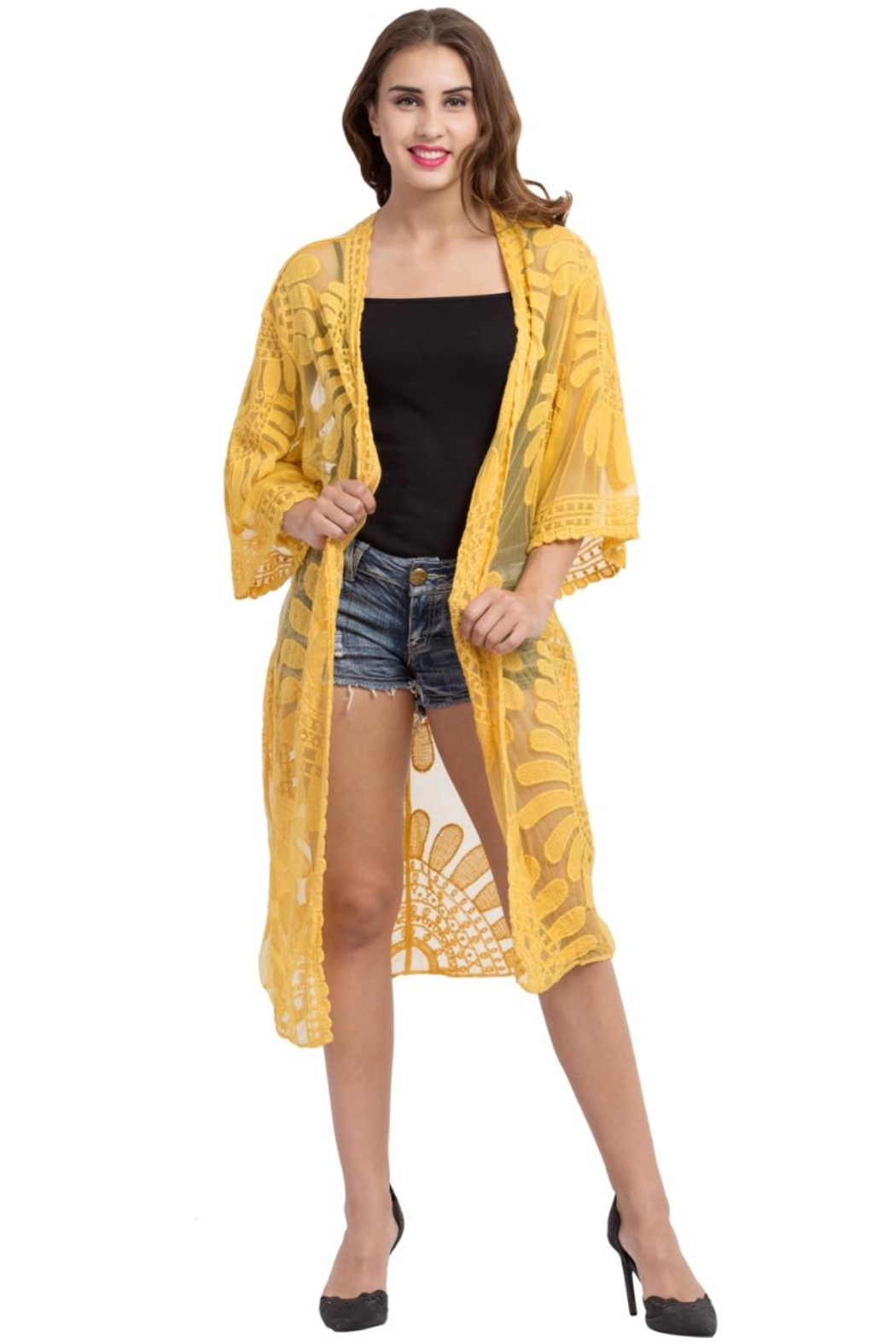 Raj Lotus Lace Duster - Front Cropped Image