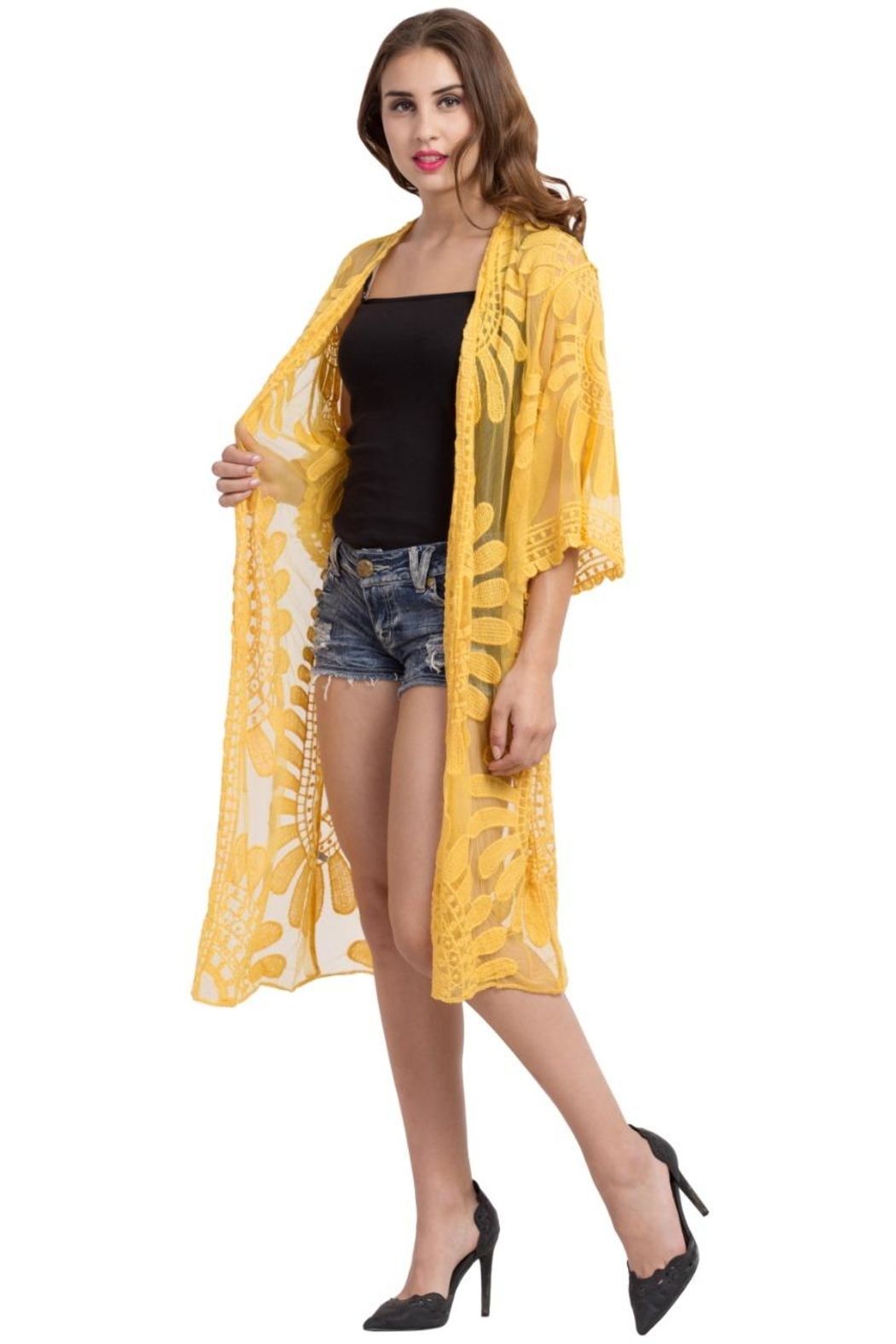 Raj Lotus Lace Duster - Back Cropped Image