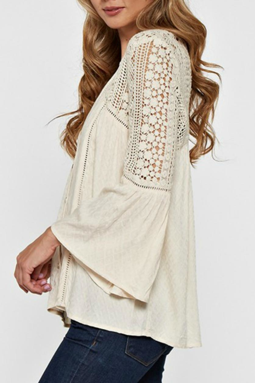 Love Stitch Lace Embellished Bell-Sleeve - Front Full Image