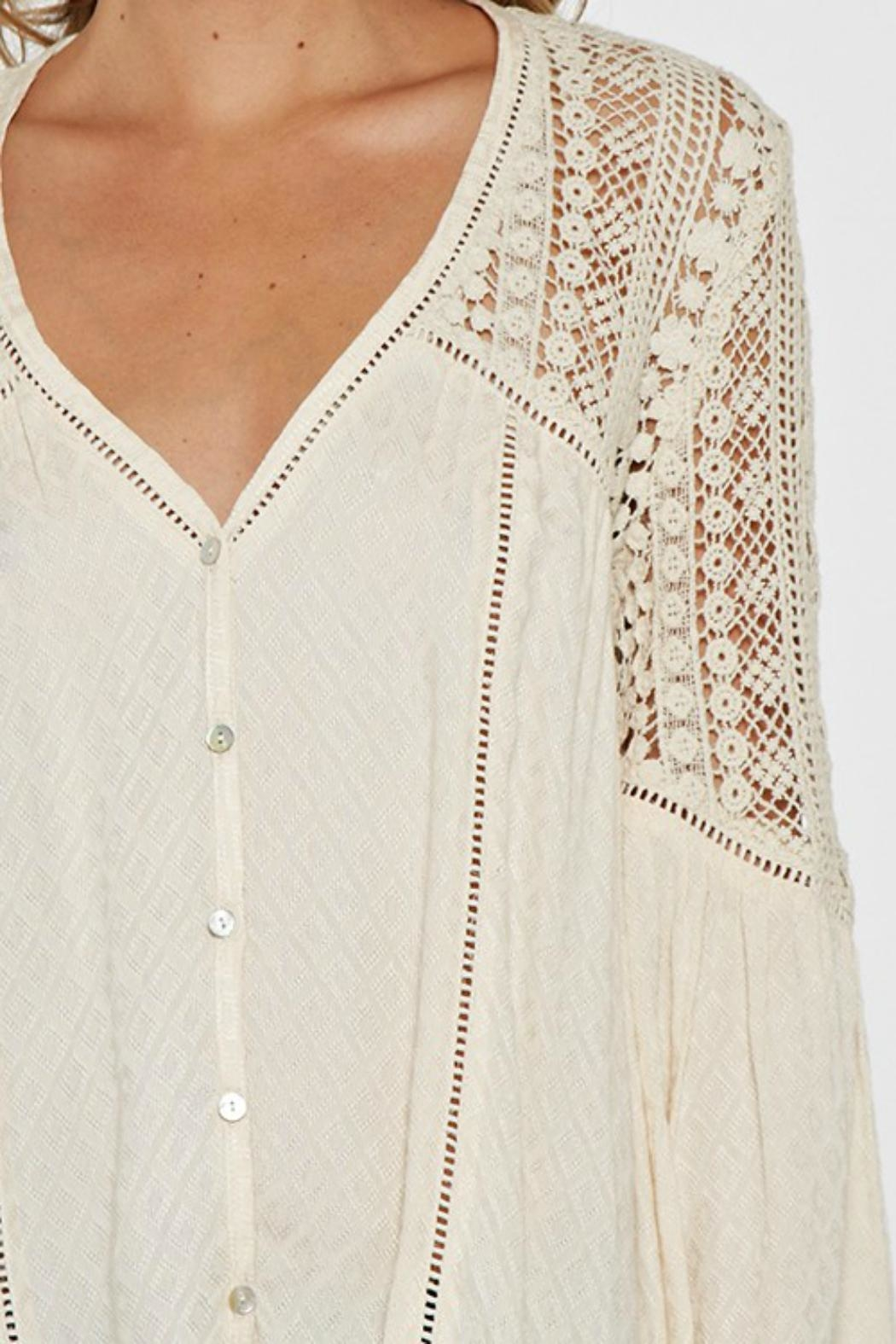Love Stitch Lace Embellished Bell-Sleeve - Back Cropped Image