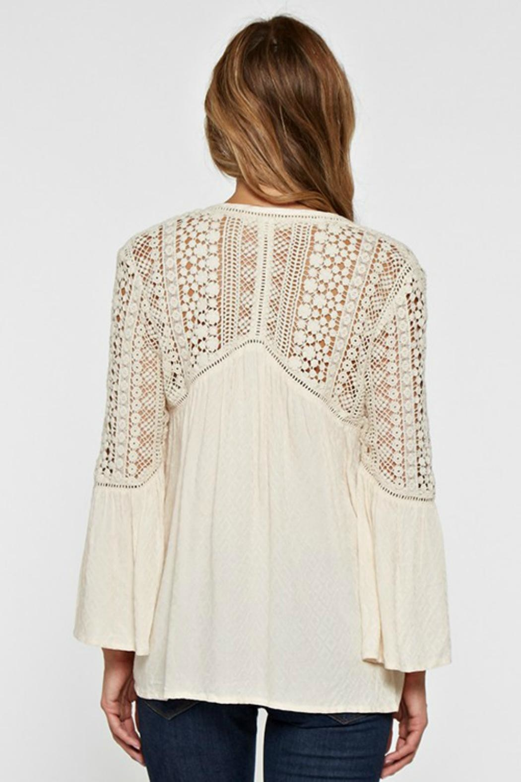 Love Stitch Lace Embellished Bell-Sleeve - Side Cropped Image