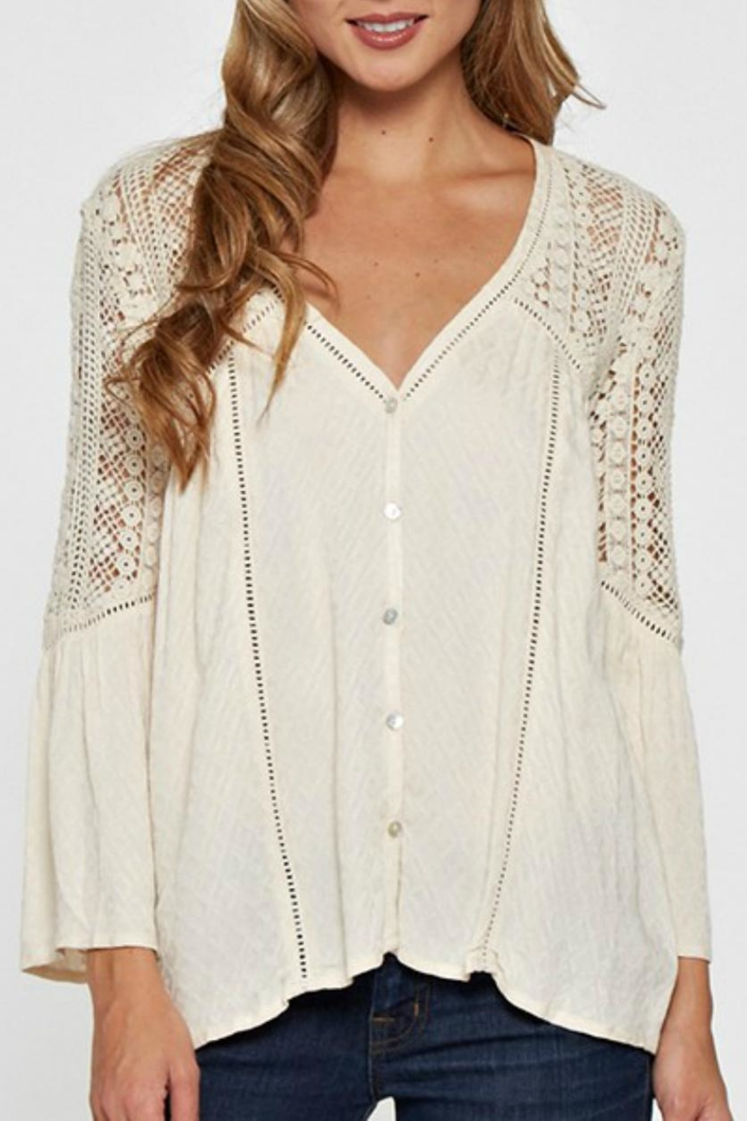 Love Stitch Lace Embellished Bell-Sleeve - Main Image