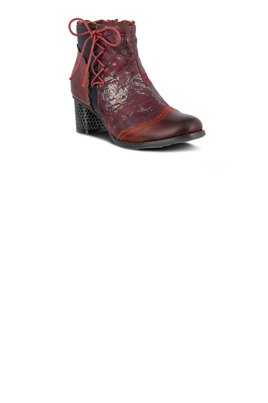 Spring Footwear Lace Embossed Bootie - Front Cropped Image