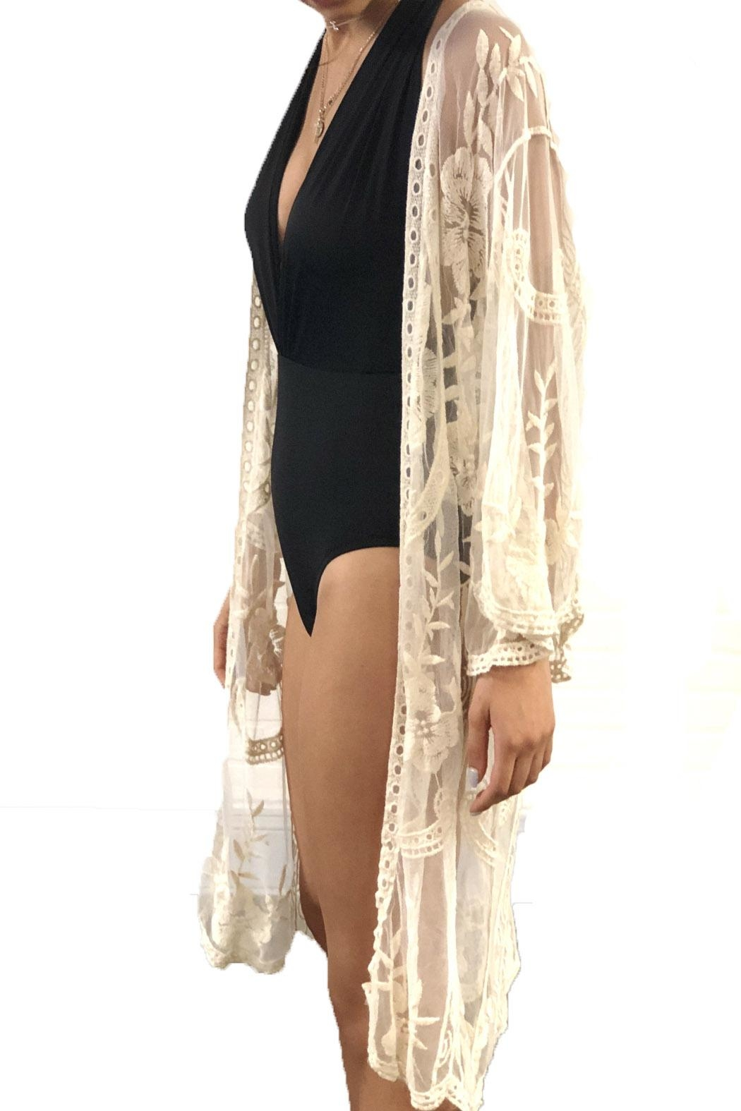 Renjo Lace Embroidered Duster - Front Full Image