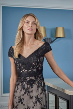 Jade Lace Flare Gown with Portrait Neckline - Alternate List Image