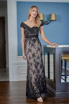 Jade Lace Flare Gown with Portrait Neckline - Product List Image