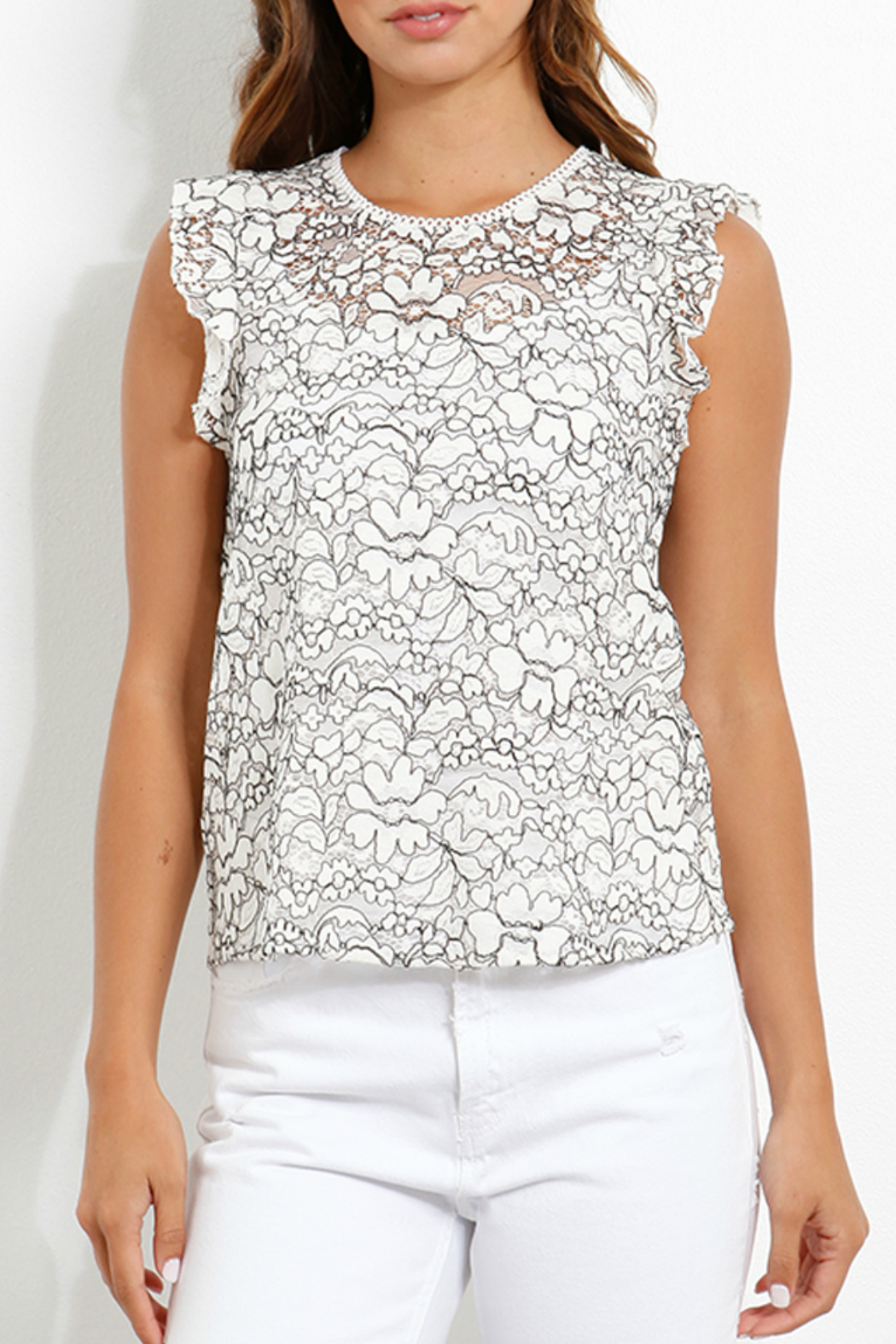 Three Dots Lace Flounce Slv Top - Front Cropped Image