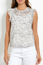 Three Dots Lace Flounce Slv Top - Front cropped
